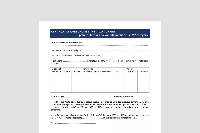 certificat de conformité gaz erp