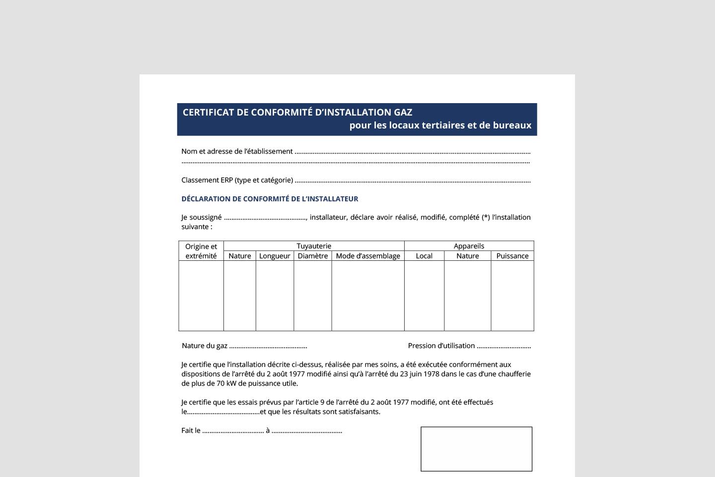 certificat de conformité gaz bâtiment tertiaire